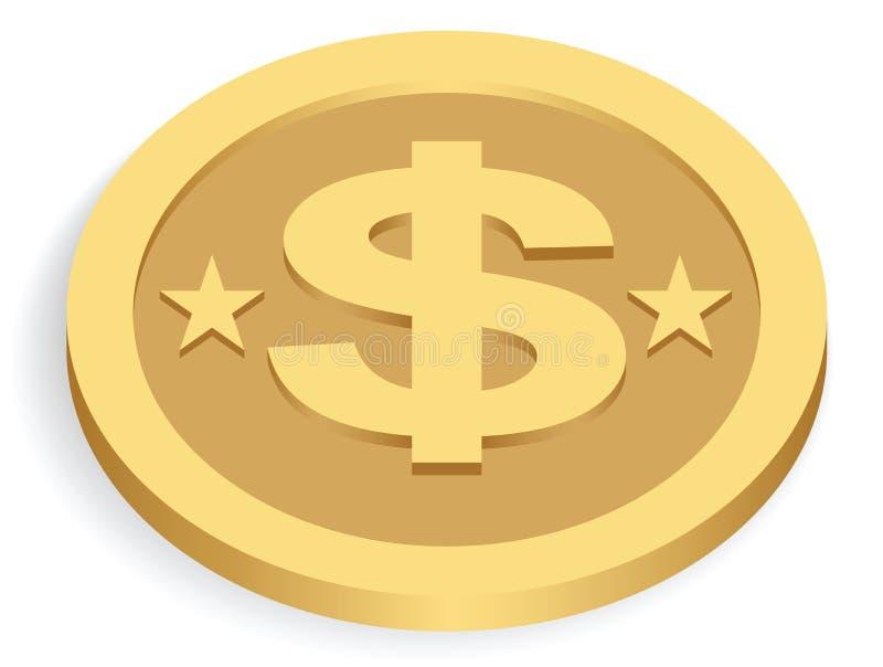 menniczy dolarowy złoto ilustracja wektor
