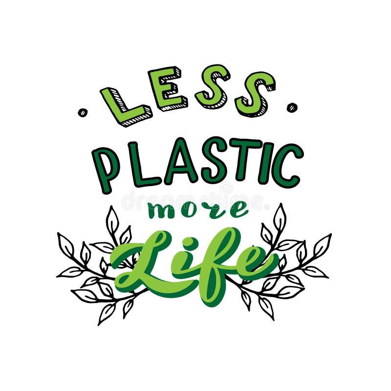 Meno di plastica pi? citazione di vita Insegna scritta a mano dell'iscrizione Salvo il concetto del pianeta illustrazione vettoriale