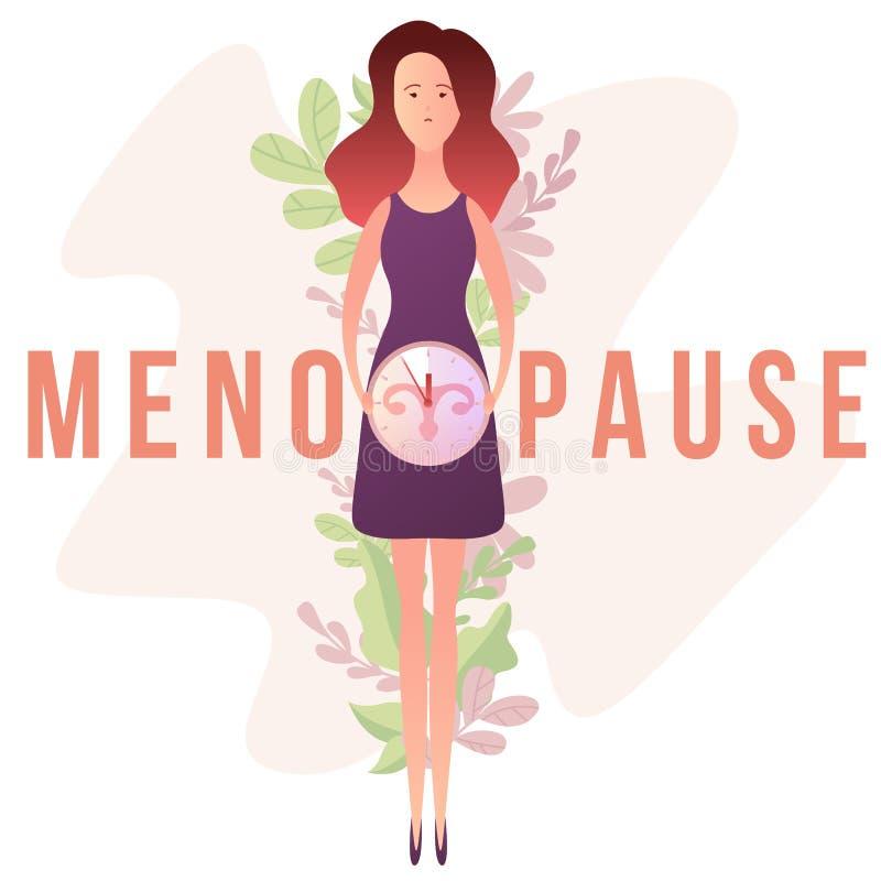 Menopausa sob a forma da mulher com um pulso de disparo ilustração royalty free