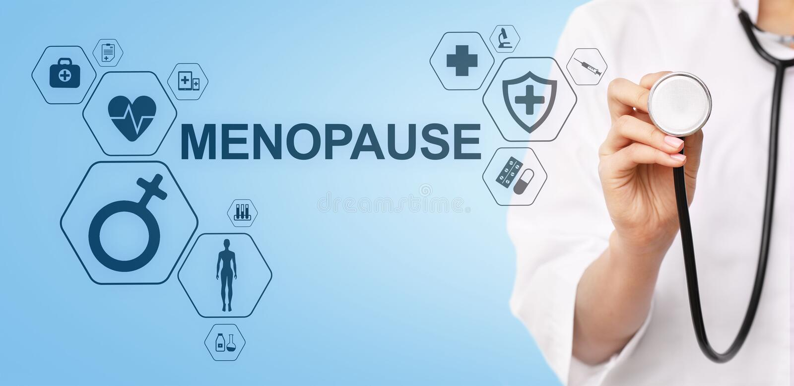 Menopause age women health medical concept on screen. Menopause age women health medical concept on screen vector illustration