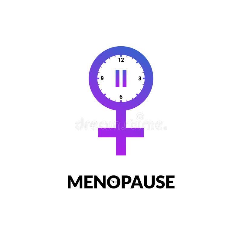 Menopause icon awareness. Woman fertility age clock menstrual period logo.  royalty free illustration