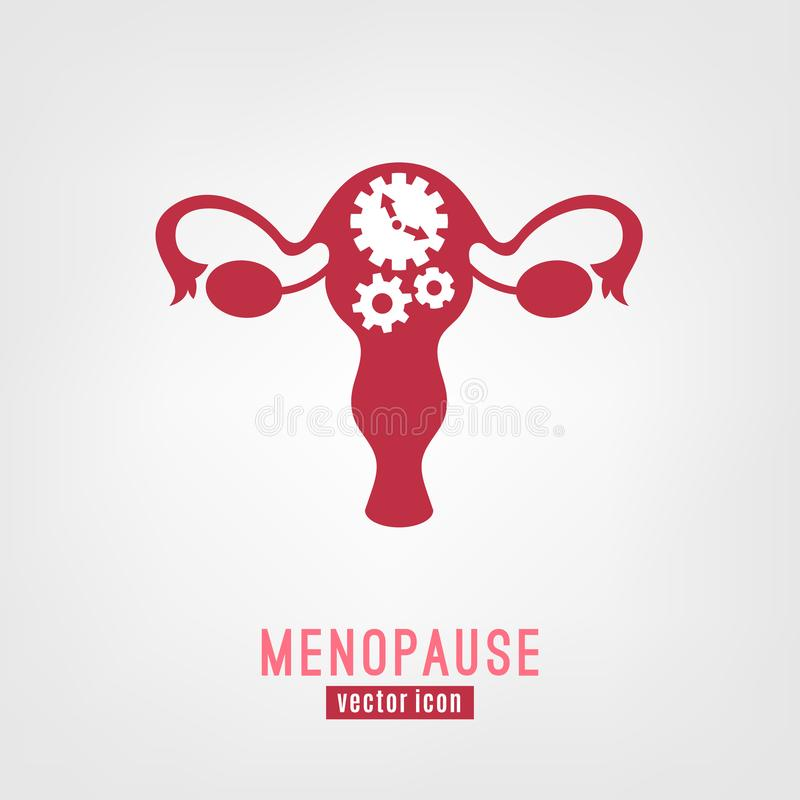 Menopause vector icon. Editable illustration in pink colors isolated on a white background. Medical, healthcare and feminine concept vector illustration