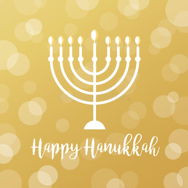 Menorah świeczki na Złotym Bokeh tle Szczęśliwy Hanukkah znak ilustracja wektor