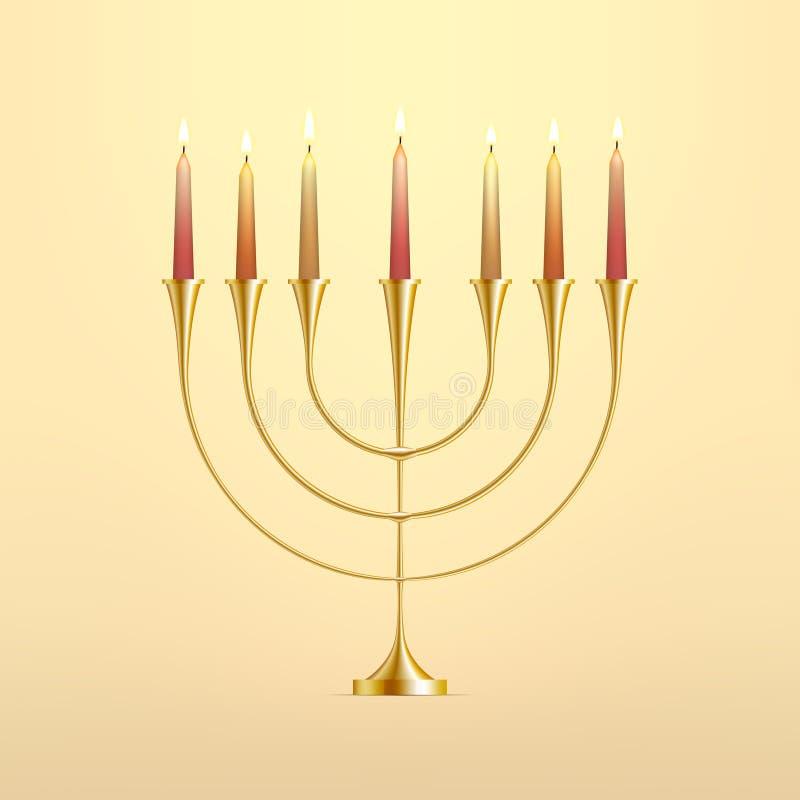 Menorah común de Jánuca del ejemplo del vector con las velas Palmatoria judía Festival de luces, banquete del esmero hanukkah ilustración del vector