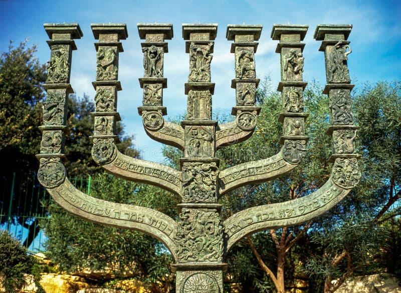Menorah com história judaica, Jerusalém foto de stock royalty free