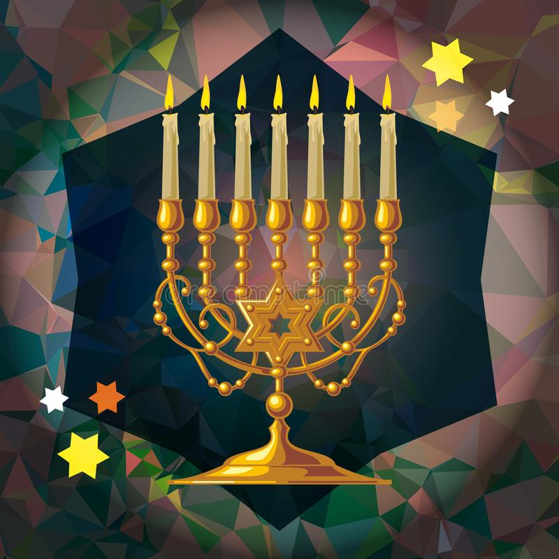Menorah d'or illustration de vecteur
