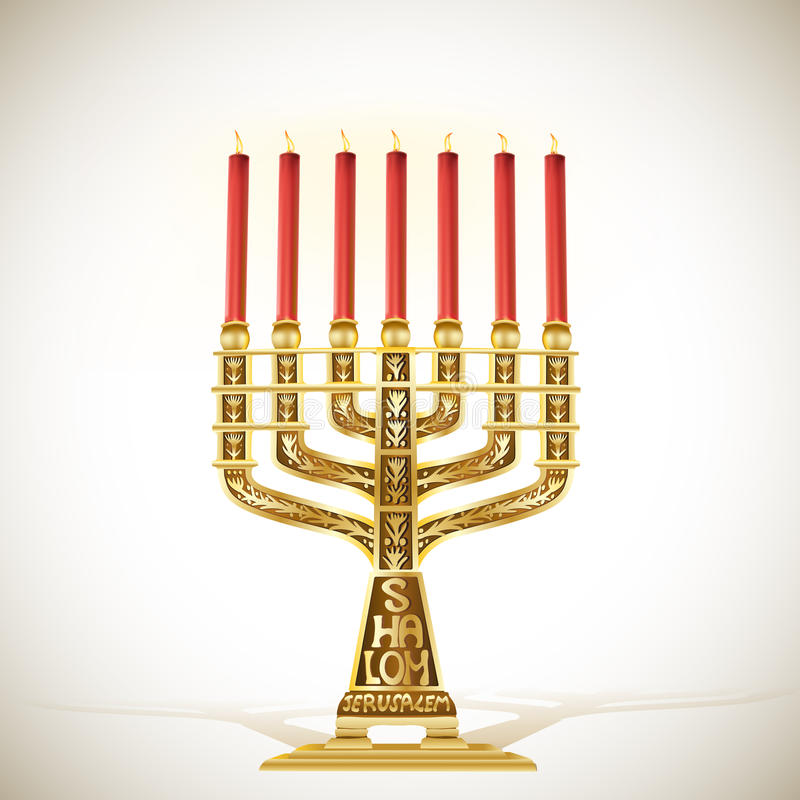 Menorah d'or avec sept bougies illustration libre de droits