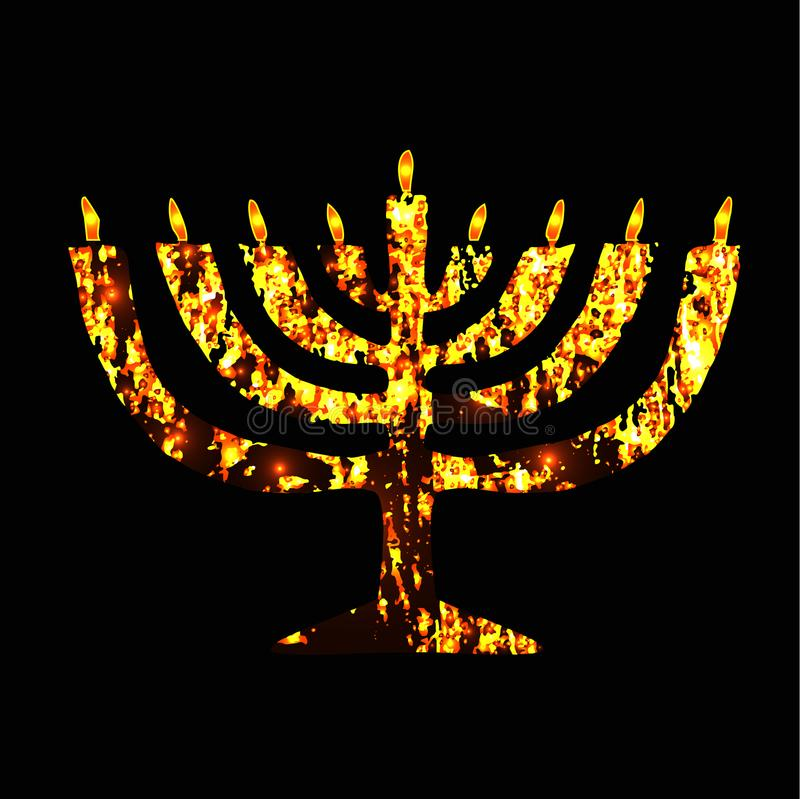 Menorah d'or de Chanukia Vacances juives de Hanukkah Illustration de vecteur sur le fond noir illustration de vecteur