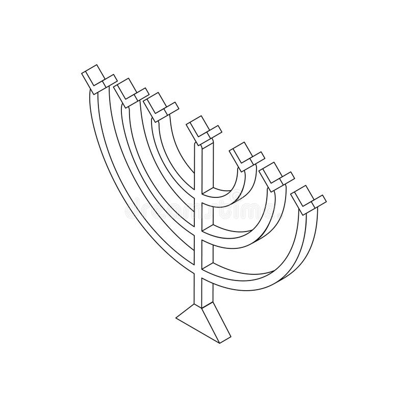Menorah di Chanukah, icona isometrica 3d royalty illustrazione gratis