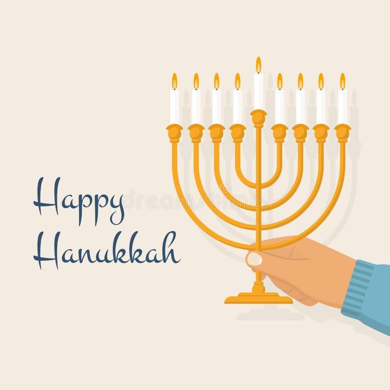 Menorah di Hanukkah Vettore illustrazione vettoriale