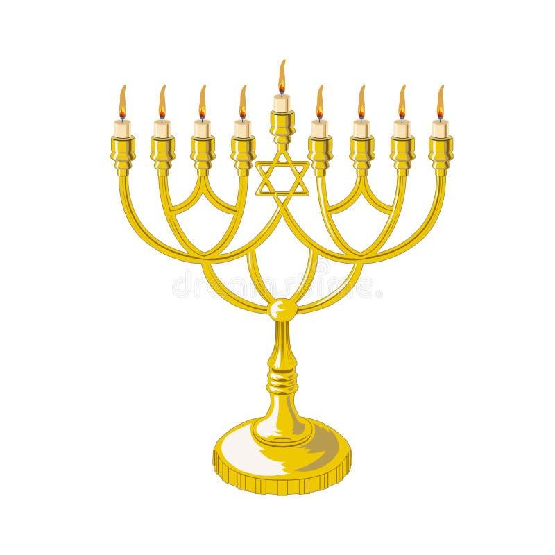 Menorah dla Hanukkah odizolowywał, płaska religii świeczek ikona również zwrócić corel ilustracji wektora royalty ilustracja
