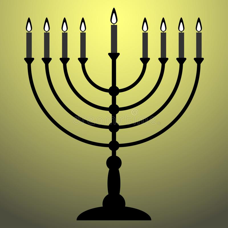 Menorah dla Hanukkah z połyskiem Religii ikona