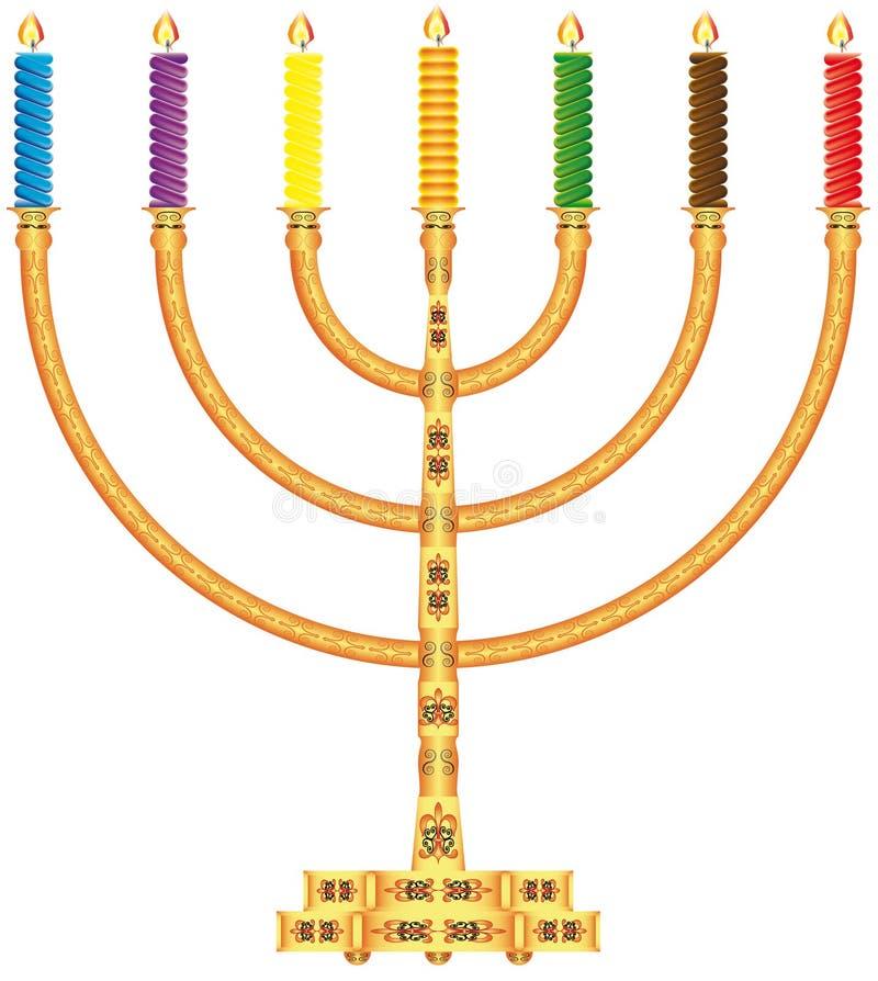 Menorah dourado ilustração do vetor