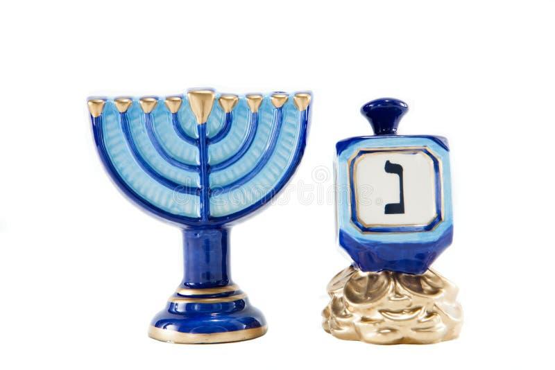 Menorah and Dreidel royalty free stock image