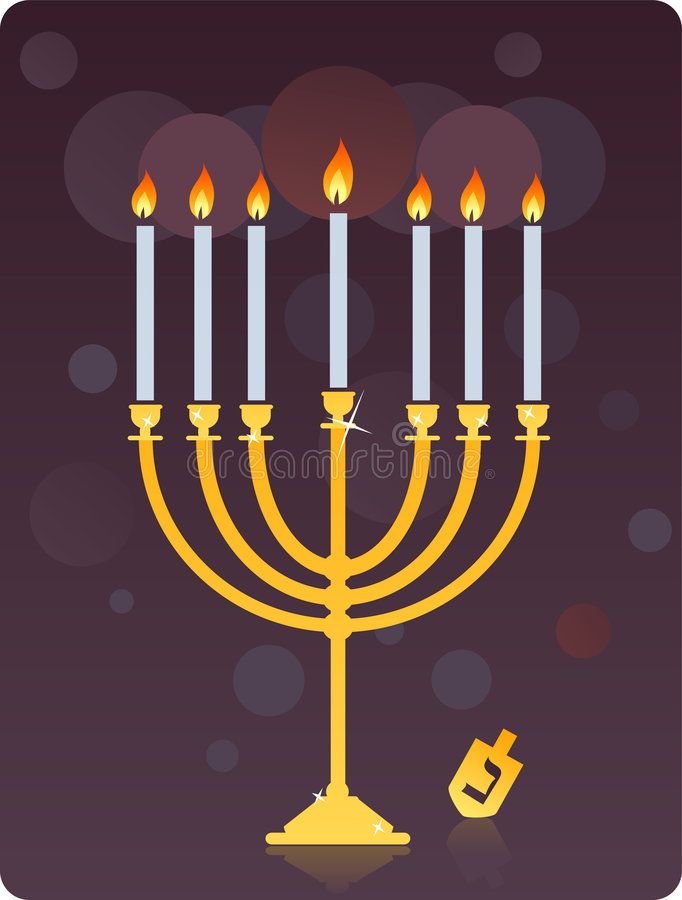 Menorah e dreidel illustrazione di stock