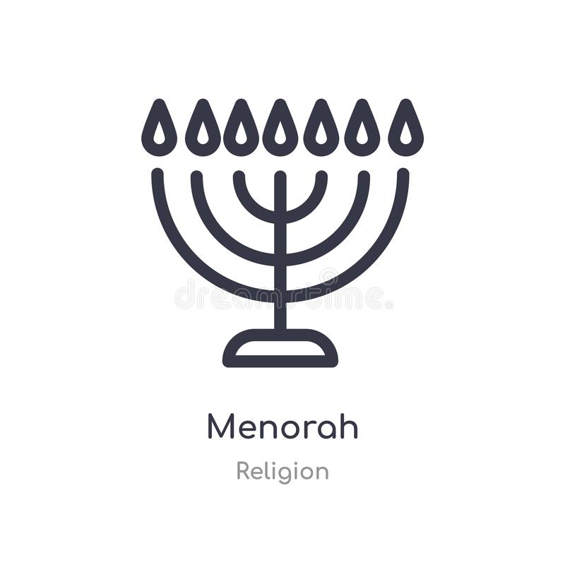 menorah Entwurfsikone lokalisierte Linie Vektorillustration von der Religionssammlung editable Haarstrich menorah Ikone auf Weiß lizenzfreie abbildung