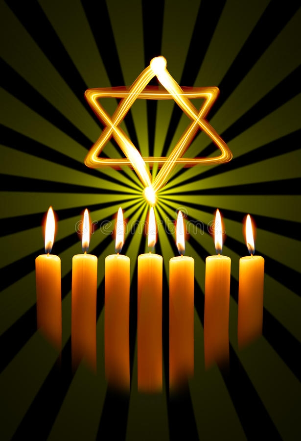 Menorah et étoile photos stock