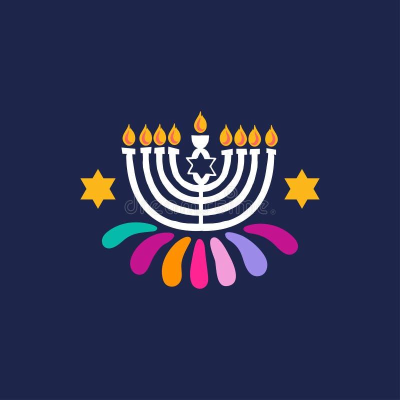 Menorah exhausto de la mano del vector, icono de la vela aislado para el festival judío feliz de luces, David Star, fuegos artifi libre illustration