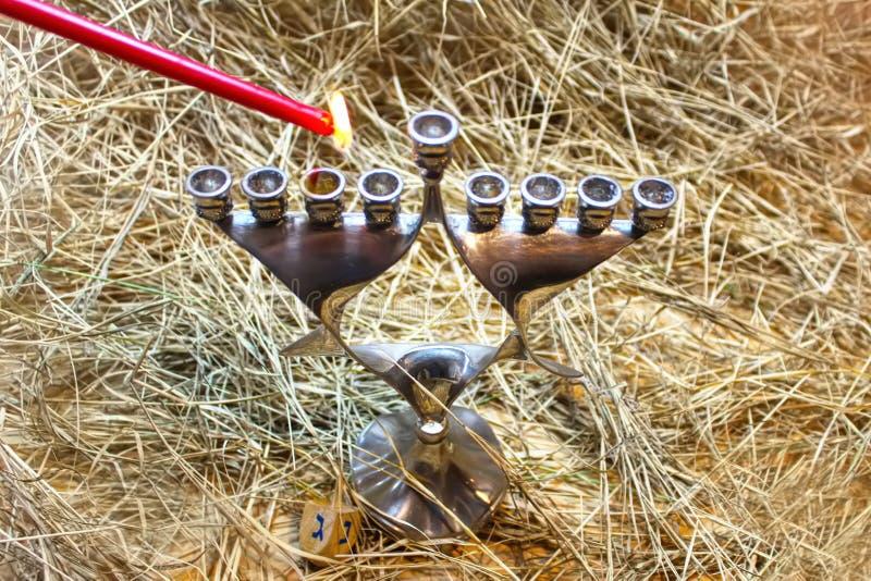 Menorah Hanoucca Image pour des vacances juives Hanoucca images stock