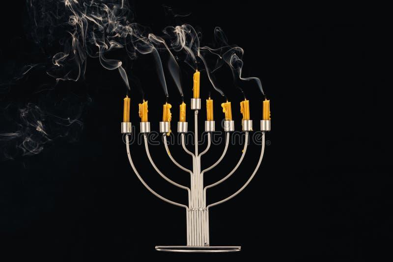 Menorah i świeczki dla Hanukkah obrazy royalty free