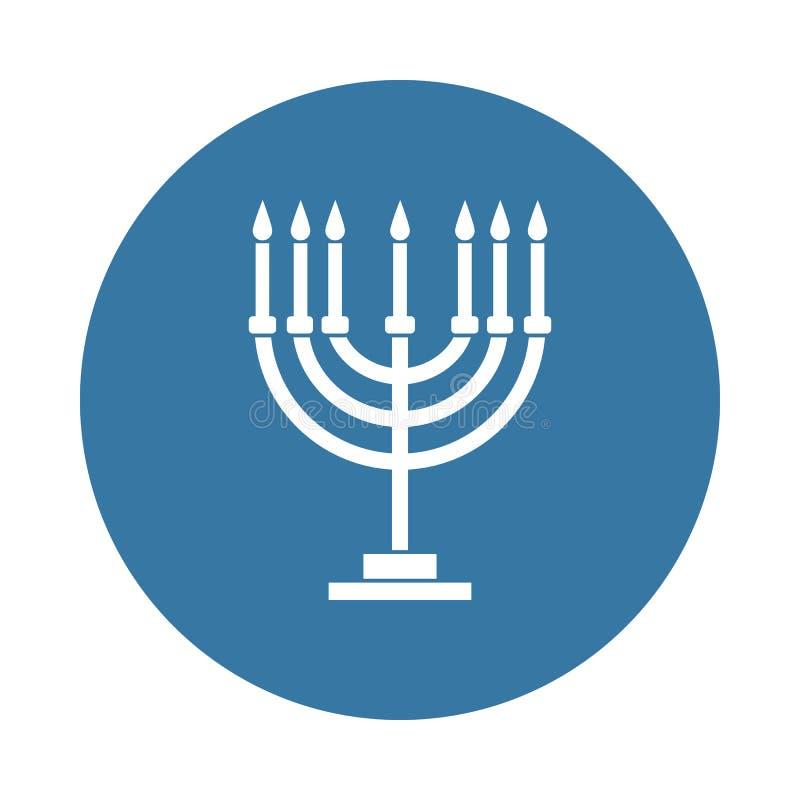 Menorah ikona w odznaka stylu ilustracja wektor