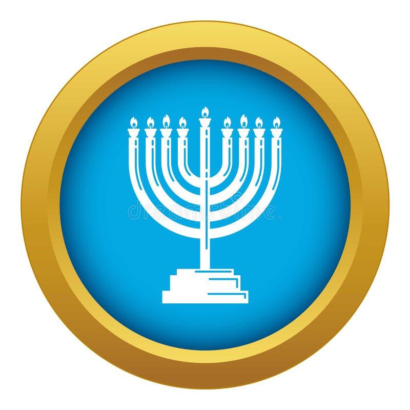 Menorah ikony błękitny wektor odizolowywający ilustracji