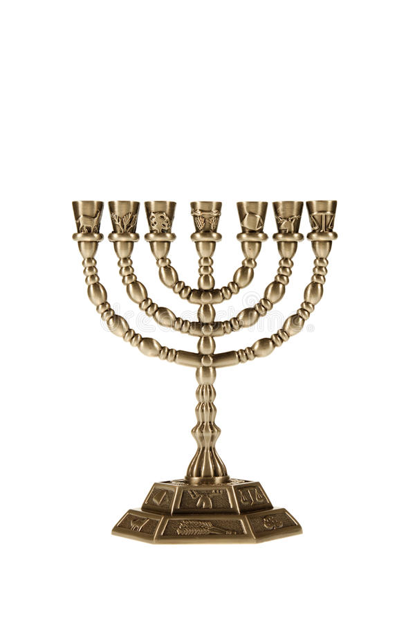 Menorah isolated on white royalty free stock images