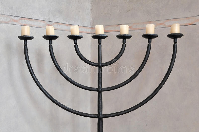 Menorah Judaic del candeliere fotografia stock