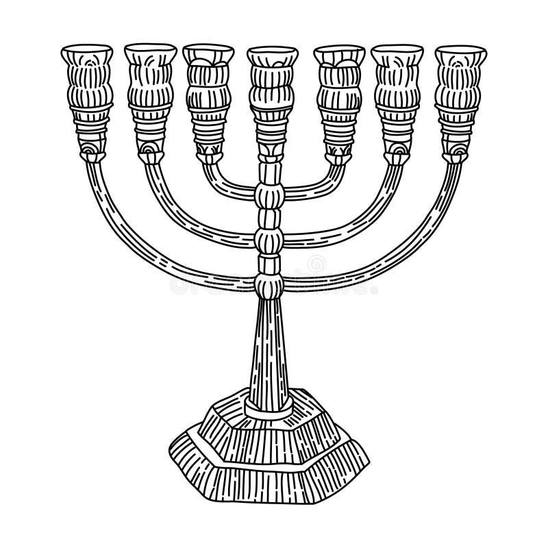 Menorah Judaism. Black and white graphics menorah Judaism religious articles vector illustration