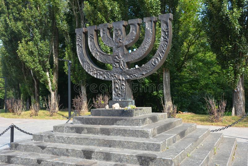 A menorah memorial dedicated to jewish people executed in 1941 in Babi Yar in Kiev by German forces. Holocaust stock image