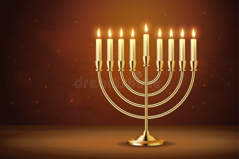 Menorah réaliste d'or, chandelier avec les bougies brûlantes illustration libre de droits