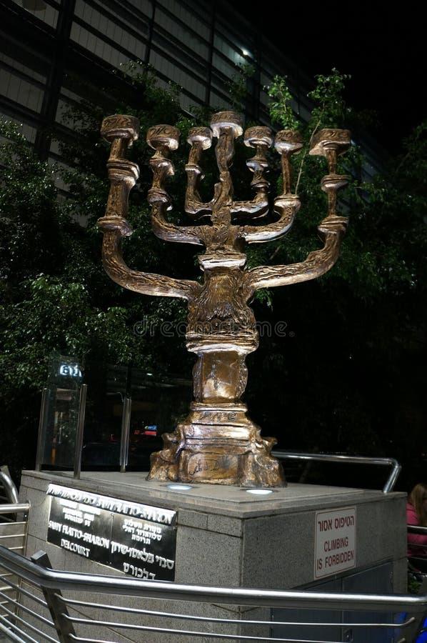 Menorah rzeźba robić Salvador Dali w Tel Aviv fotografia royalty free