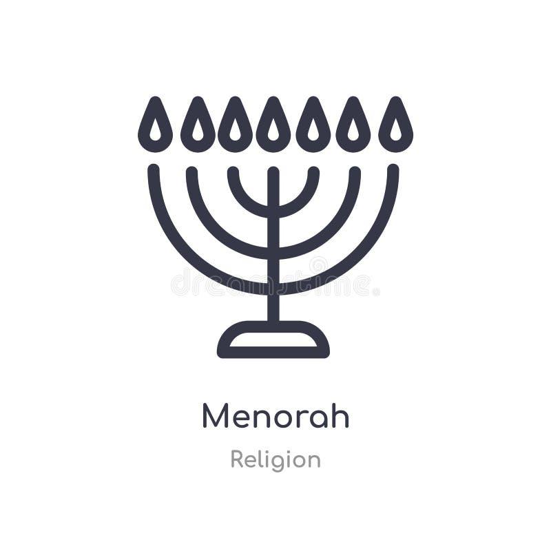 menorah schets pictogram ge?soleerde lijn vectorillustratie van godsdienstinzameling editable dun slag menorah pictogram op wit royalty-vrije illustratie