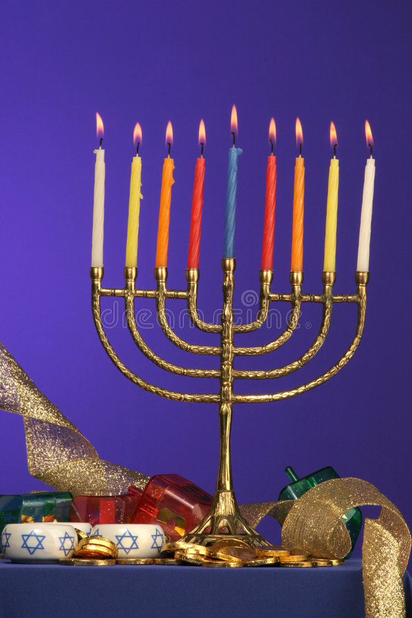 Menorah series fully lite royalty free stock photo