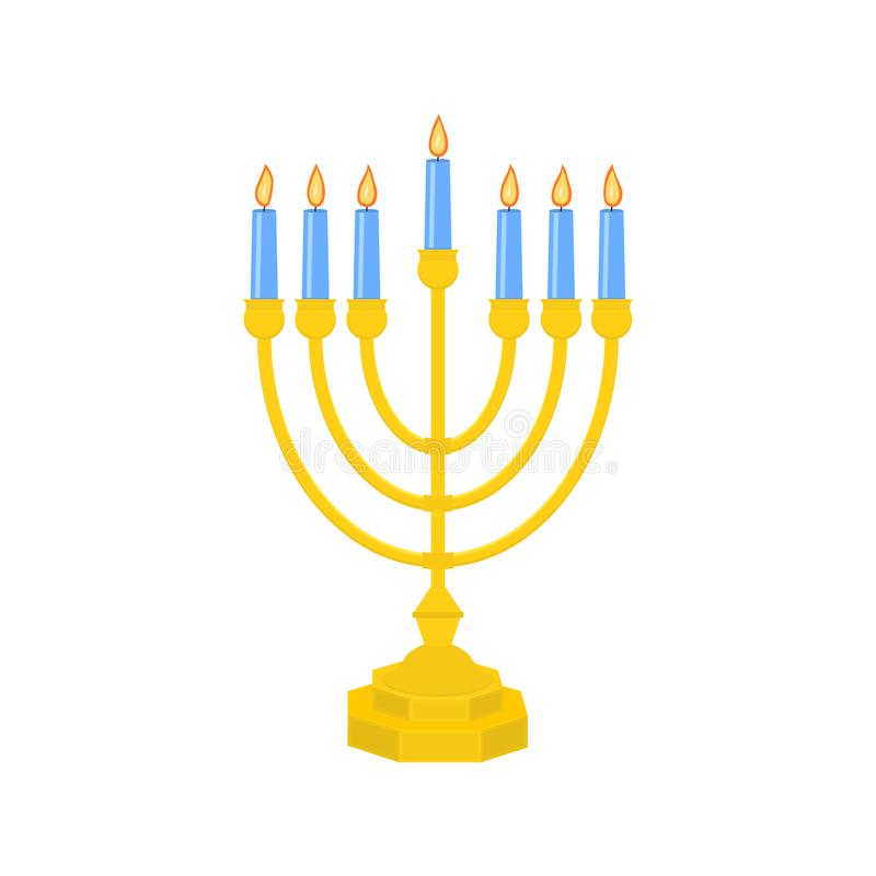 Menorah vector icon. Menorah - Traditional seven-branched Jewish candlestick for Hanukkah design. Isolated on white vector illustration