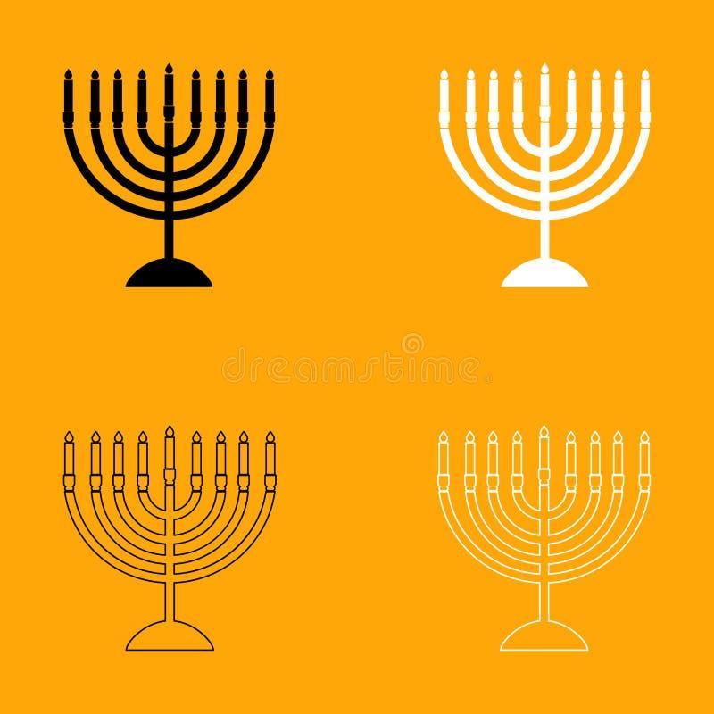 Menorah voor Chanoeka vastgesteld zwart-wit pictogram royalty-vrije illustratie