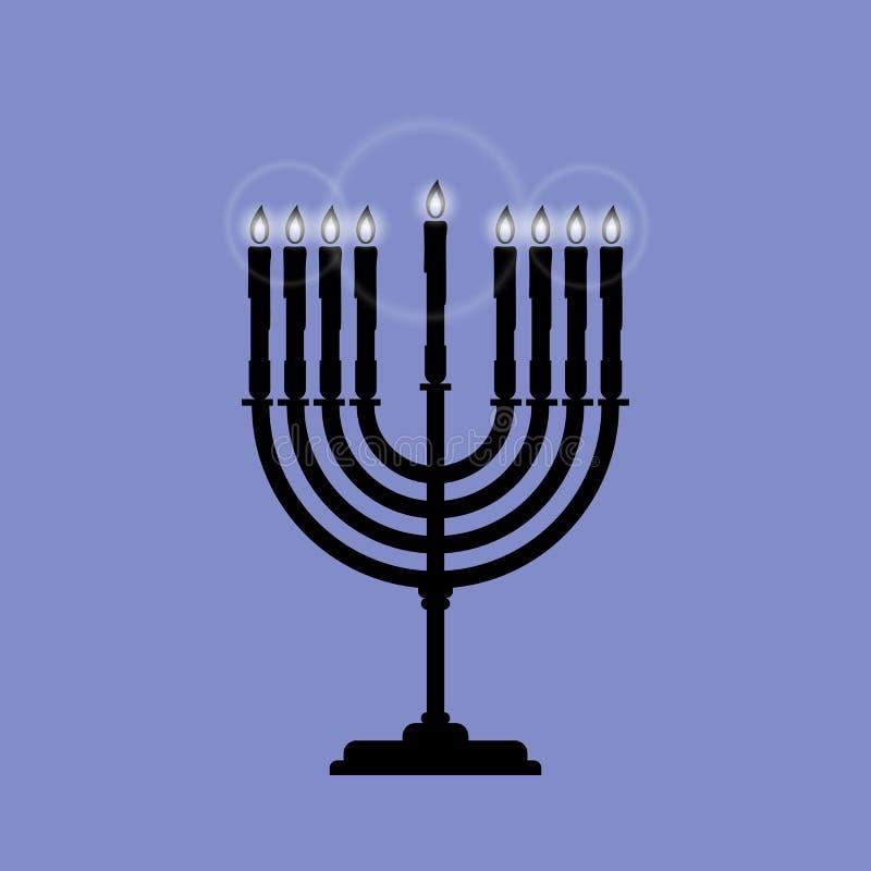 Menoran är ett vektorsymbol för Chanukkah som isoleras på blått vektor illustrationer