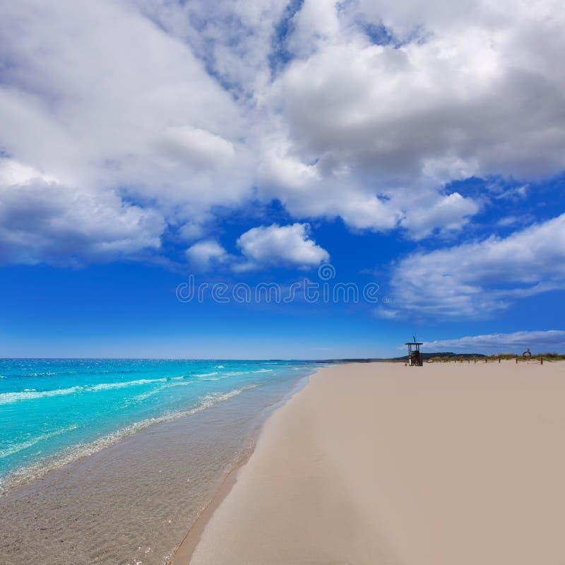 Menorca绿松石海滩的Alaior Cala儿子Bou在拜雷阿尔斯 库存照片
