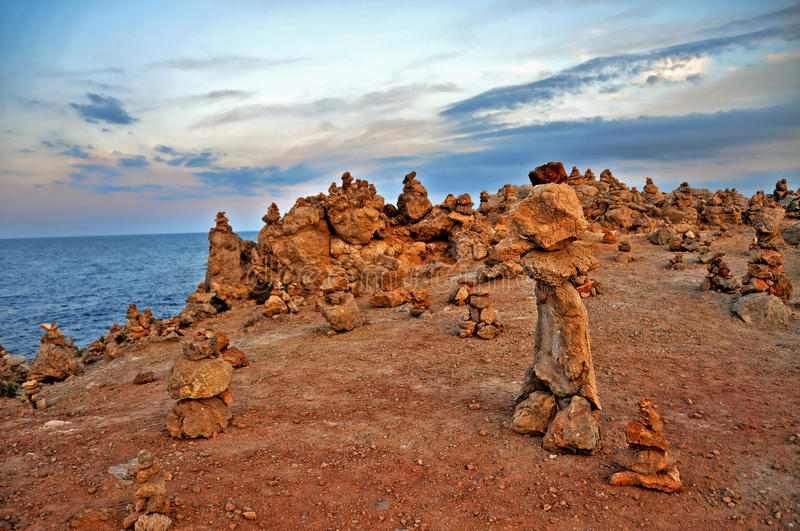 Menorca, Balearic Islands, Spain. A landscape with a lot of stone stacks in Menorca, Balearic Islands, Spain stock photos