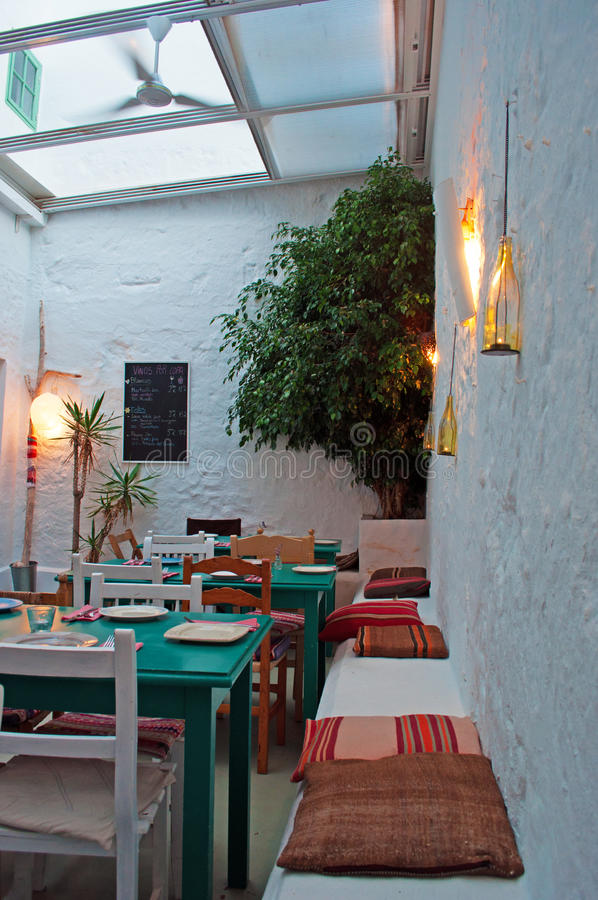 Menorca, Balearic Islands, Spain. A restaurant in the streets of Ciutadella on July 7, 2013. Ciutadella is the former capital city of Menorca, in the western end stock photos
