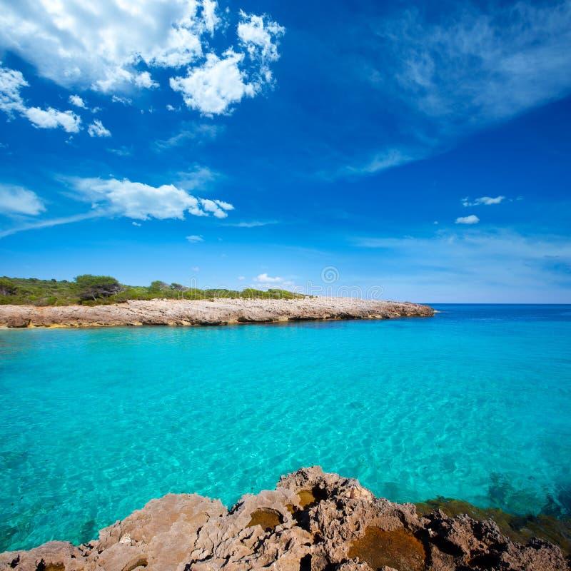 Menorca Cala des Talaier海滩在拜雷阿尔斯的Ciutadella 库存照片