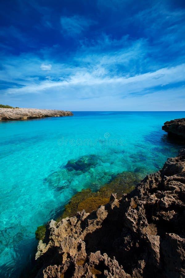 Menorca Cala des Talaier海滩在拜雷阿尔斯的Ciutadella 库存图片