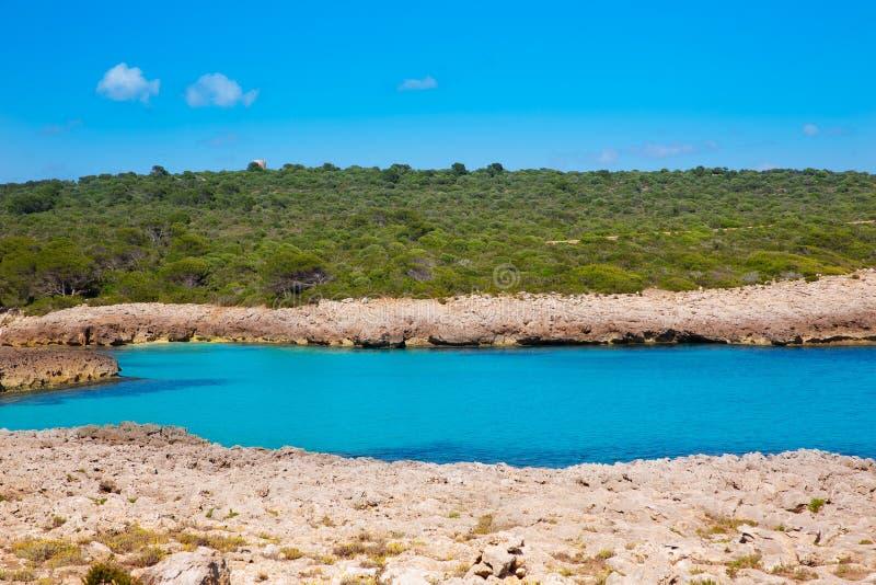 Menorca Cala des Talaier海滩在拜雷阿尔斯的Ciutadella 免版税库存照片