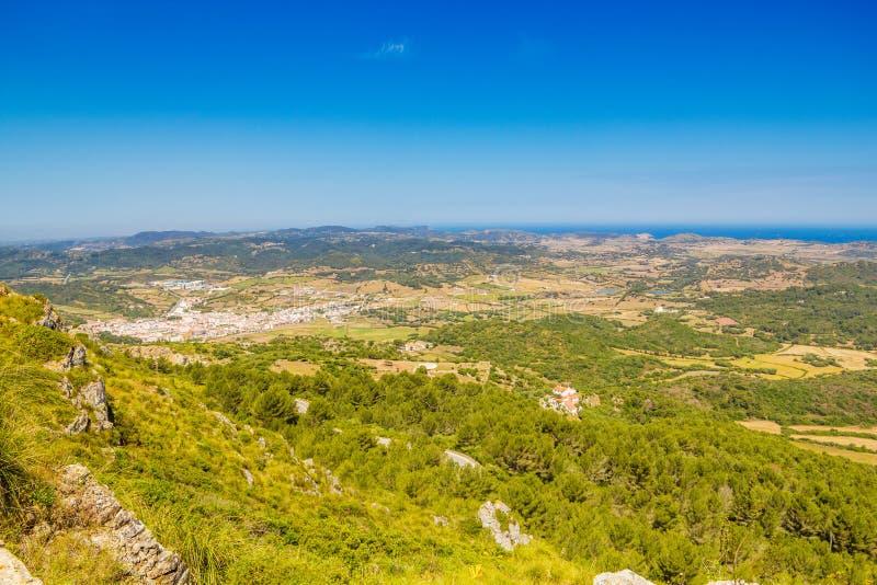 Menorca从Monte观看的海岛风景托罗 免版税库存图片
