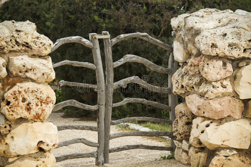 Menorcan wooden gate stock images