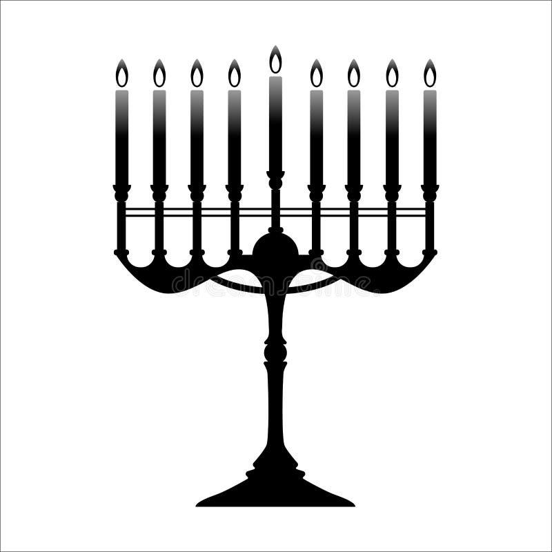 Menoror för Chanukkahsvart på vit royaltyfri illustrationer