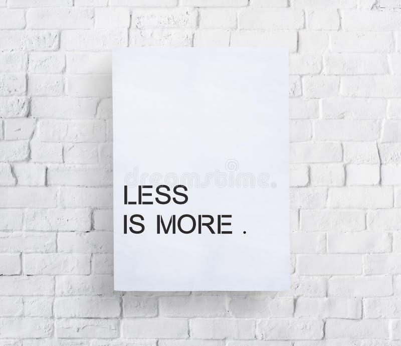 Menos es un concepto más mínimo de la sencillez de la sencillez de la simplicidad imágenes de archivo libres de regalías