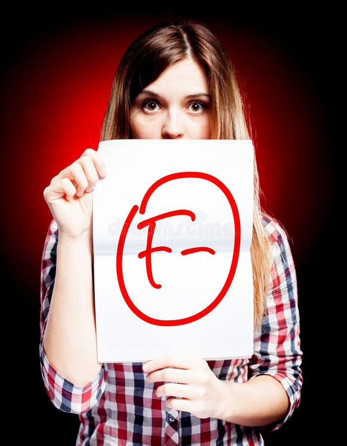 Menos fatal da categoria F do exame e da mulher surpreendida ilustração stock