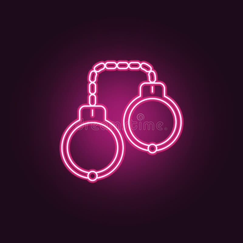Menotte l'icône Éléments d'enquête de crime dans les icônes au néon de style E illustration stock