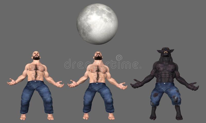 Mens aan Wolf Werewolf Transformation Illustration royalty-vrije illustratie